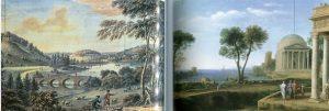 El jardín paisajísta. Coplestone, Vista de Stourhead 1760. Claudio de Lorena Marina con Eneas en Delfos 1672.
